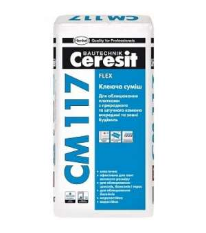 Клей для плитки Эластичный Ceresit CM-117 Flex (Церезит) (25кг)